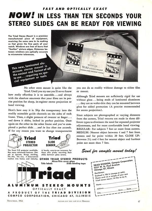 1953 Nov Compco Triad slide mounts and p