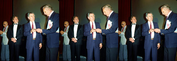 1990_04_06  Andre de Toth, manager, Chris Condon presenting Vincent Price with plaque at V