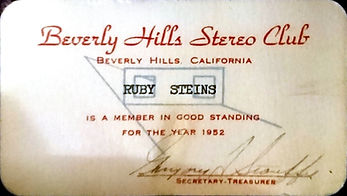 1952 Ruby Steins Beverly Hills Stereo Cl
