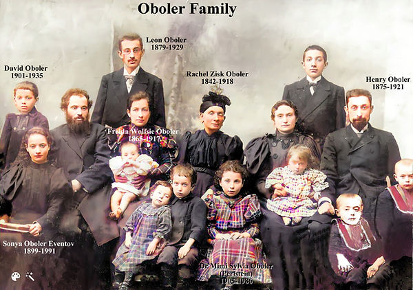 Oboler Family group shot with labels centered around grandma Rachel Oboler repaired by Sus