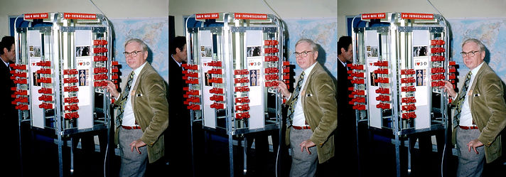 Karl Heinz-Hatle with his stereo tower a