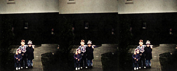 David Eisenhower poses with his little sisters - Colorized.jpg