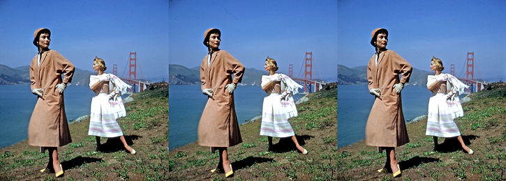 2 models with the Golden Gate Bridge by