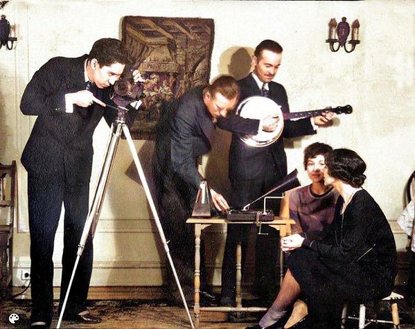 1928 Herbert C McKay filming -talkie- wi