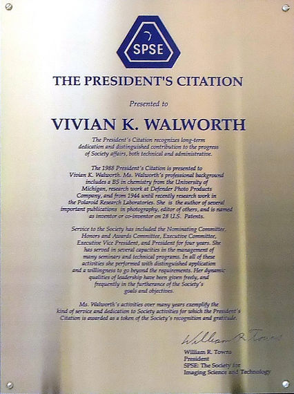 1988 Presidents Citiation to Vivian Walw