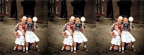 Eisenhower grandchildren with Paul Begley by DD Eisenhower - Colorized.jpg