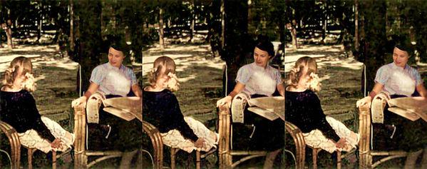 Mrs John Eisenhower and daughter - Colorized.jpg
