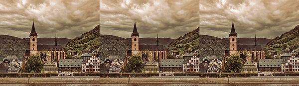 Church along the Rhine 2 by Paul Wing x.