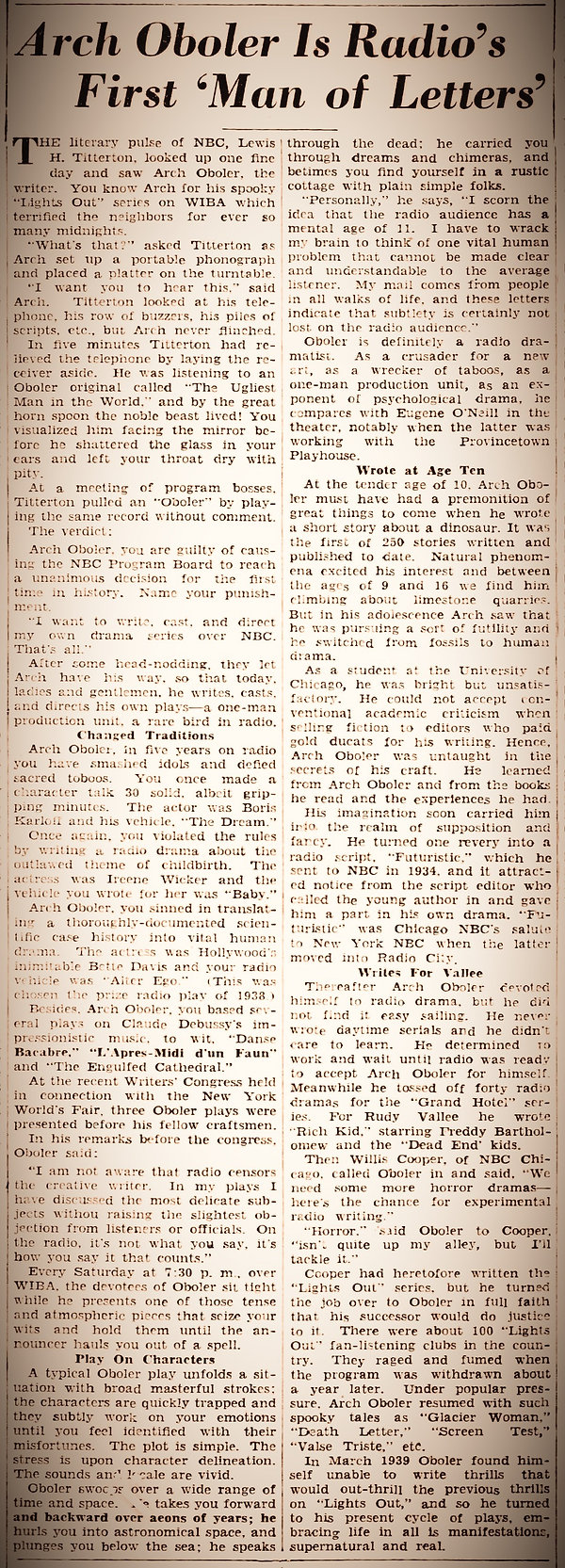 1939 Arch Oboler Man of Letters article
