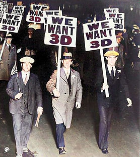 Men striking for more 3D with signs-Colo