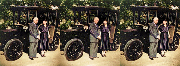 Mamie D Eisenhowers parents with their car - The Electric by DD Eisenhower - Colorized.jpg