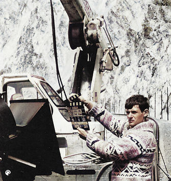 1985 Noel Archambault working on IMAX Tr