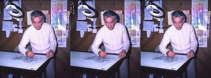 1982_Jack_Kirby_at_home_working_by_Susan