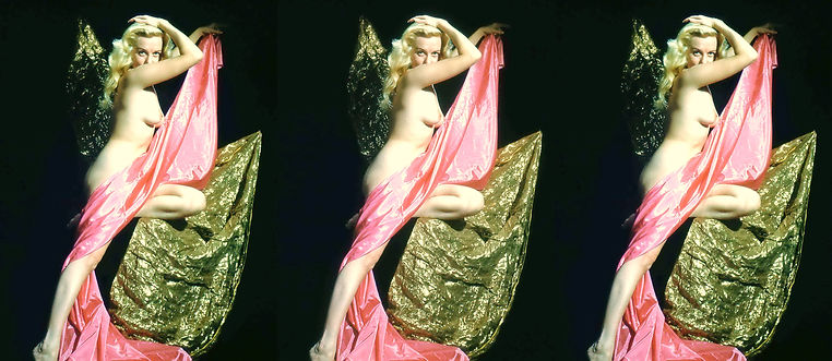 Nude study with pink and gold fabric by
