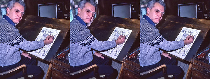 1982 Jack Kirby working at his easel by