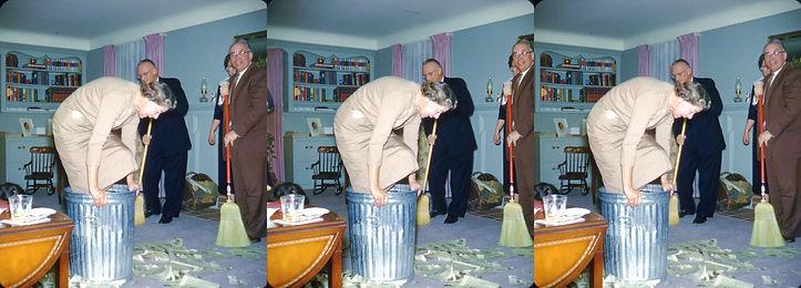 Queen Elizabeth stomping in the garbage.