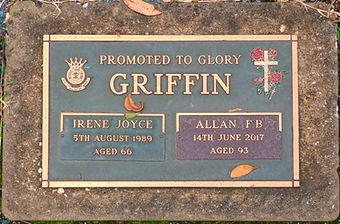 Allan Francis Burton Griffen and his wifeIrene Joyce Hines Griffin headstone in Australia.