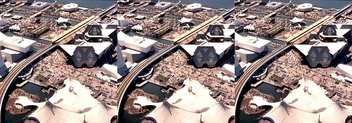 1964 New York Worlds Fair aerial shot by