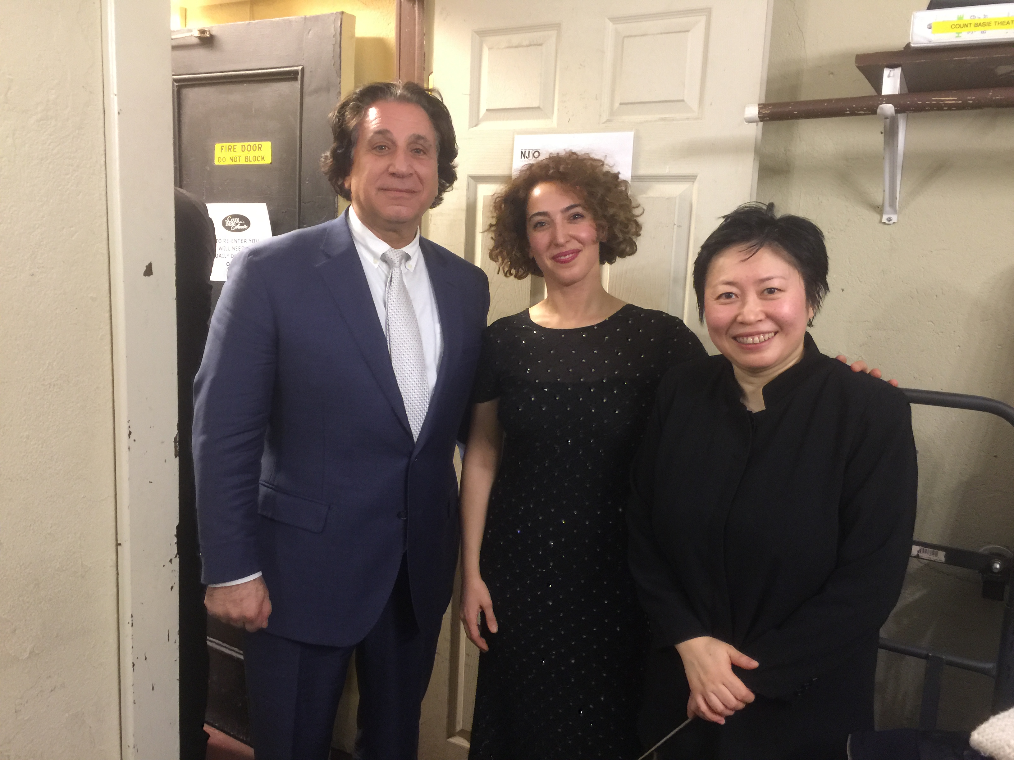 Richard Danielpour, Sara Daneshpour and music director Xian Zheng following the premiere of Carnival