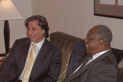 """Richard and Hank Aaron after the 2007 performance of """"Pasttime"""" by the Atlanta Symphony Orchestra"""