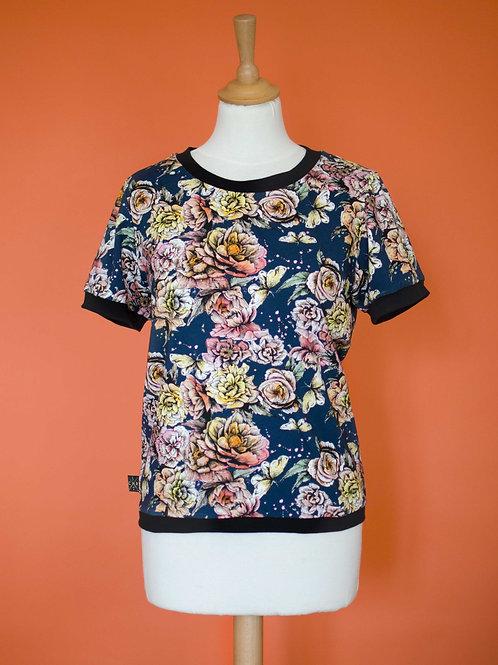 Teeshirt Basile - Pivoines navy -Taille L