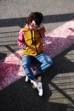 Veste Eulalie / Moutarde et rose terracotta