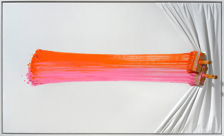 """Double Brosse arrêtée orange et rose"""