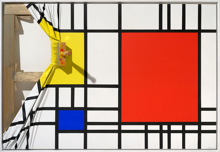 """""""Brosse arrêtée jaune hommage à Mondrian"""""""