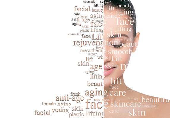 Beauty woman face with word on face showing cosmetology and aesthetic medicine concept. Li
