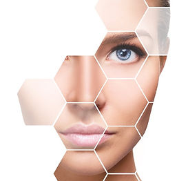 Beautiful female face in honeycombs. Spa and face lifting concept. Isolated on white_edite