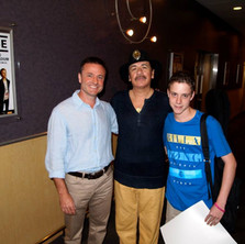 Carles with his father and Carlos Santana