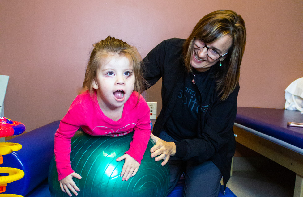 Image of childrens physical therapy patient with therapist