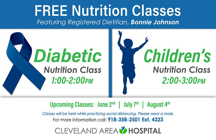 Free nutrition classes available beginning at 1:00pm on June 2nd, July 7th, and August 4th