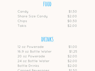 Summer Snacking Concession Stand Menu