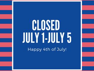 Closed July 1-July 5