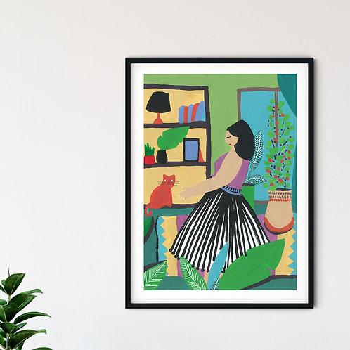 Evi Renklendiren Kadın A3 Poster