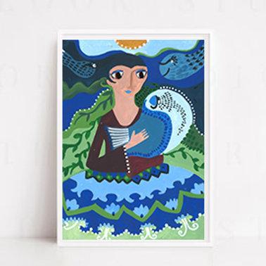 Mavi Balığı Tut A3 Poster