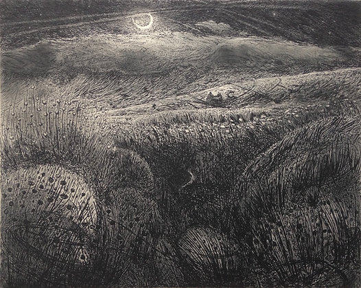 Eclogue I: your pastures all choked with rushes and mire, etching, 16x20cm