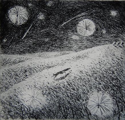 Thistledown, etching, 9 x 10cm