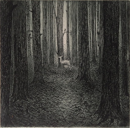 A forest, etching, 9 x 10cm