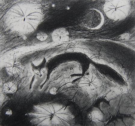 Flying dreams, etching, 9 x 10cm