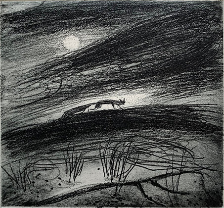 On the hill, etching, 9 x 10cm