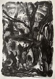 Shapeshifters, stone lithograph, 74x52cm