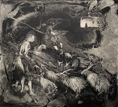 Kindling, etching, 40 x 44cm