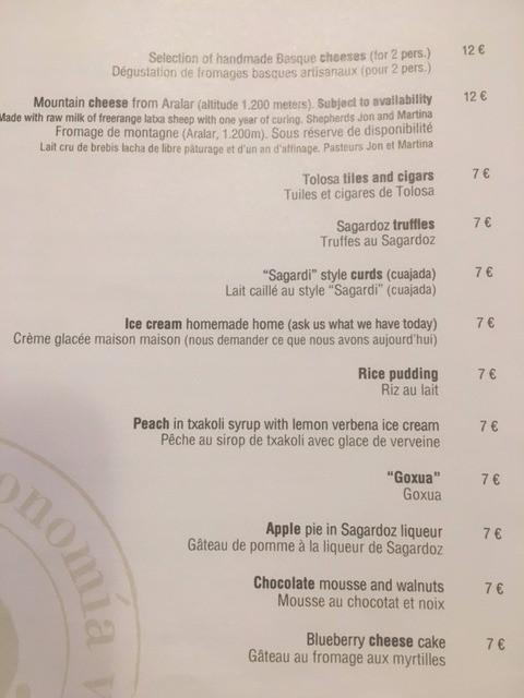 sagardi menu