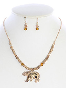 MAMA BEAR METAL CASTING NECKLACE AND EARRING SET