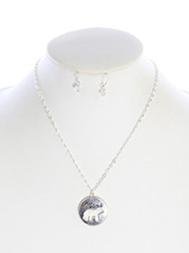 MAMA BEAR CRYSTAL STONE NECKLACE AND EARRING SET