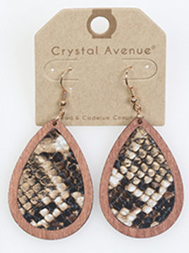 WOODEN LEATHER ANIMAL PRINT EARRING