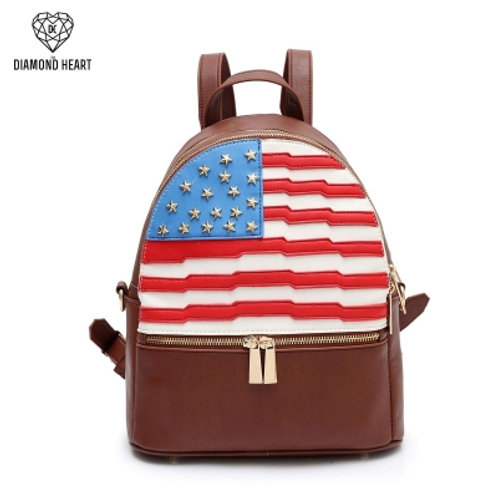 Brown American Flag Fashion Backpack