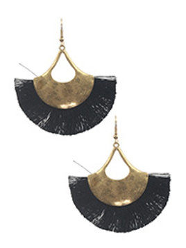 YARN TASSEL METAL FISH HOOK EARRING